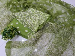 Bagru print green cotton suit with kota doria dupatta