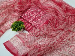 Printed red pure cotton suit set with kota doria dupatta
