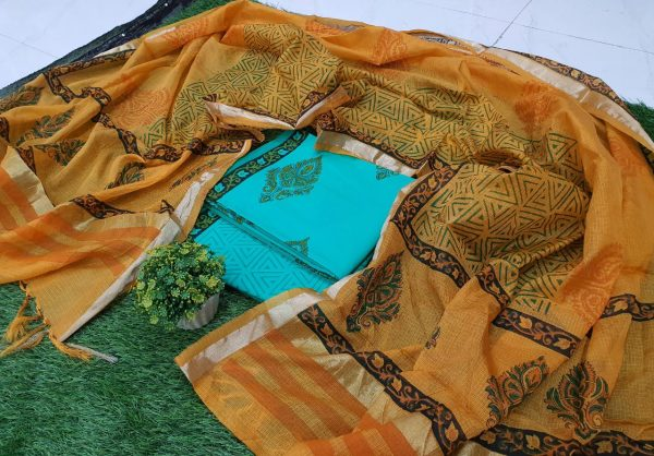 Exclusive Cyan and Ocher Cotton suit with kota silk dupatta
