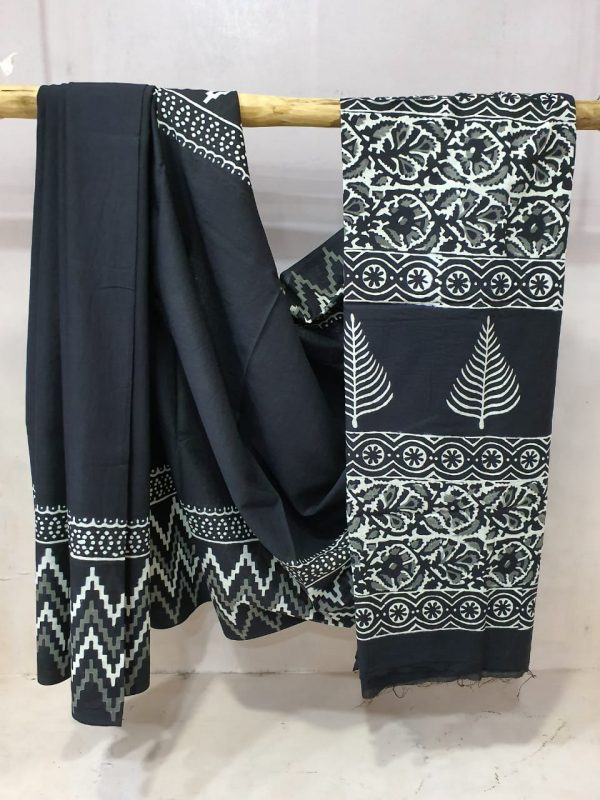 jaipuri Black Cotton mulmul saree with blouse