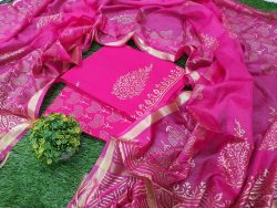 pink Natural Cotton suit with kota silk dupatta
