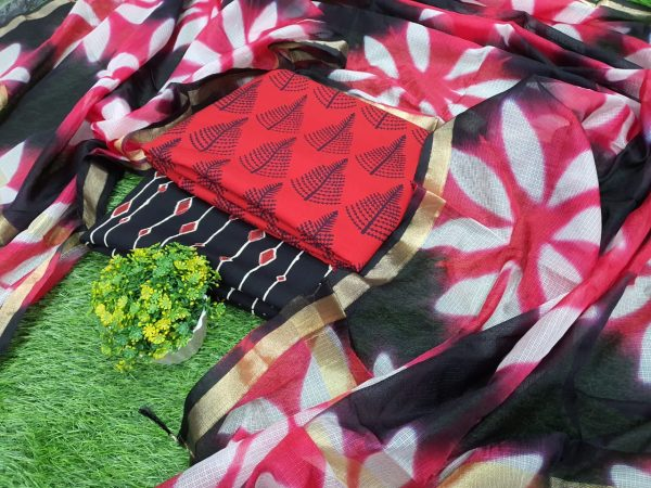 Exclusive Pink and black Cotton suit with kota silk dupatta