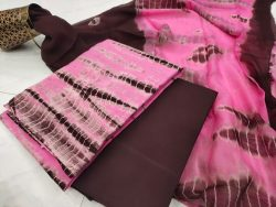 Pink and Seal Brown cotton salwar suit set with chiffon chunni
