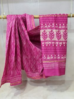 partywear Pink Chanderi saree with blouse for women