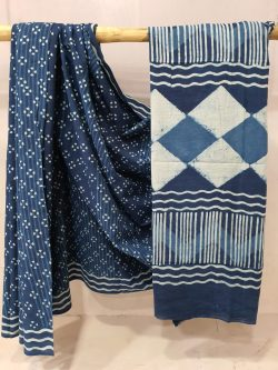 Exclusive Navy Blue Cotton mulmul saree with blouse