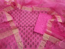 pink chanderi silk suit with organza dupatta