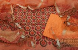 orange chanderi silk suit with organza dupatta