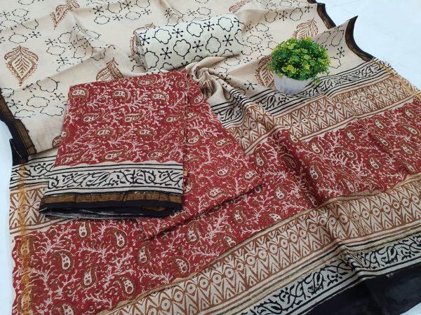 Exclusive Carmine and beige chanderi salwar kameez suit