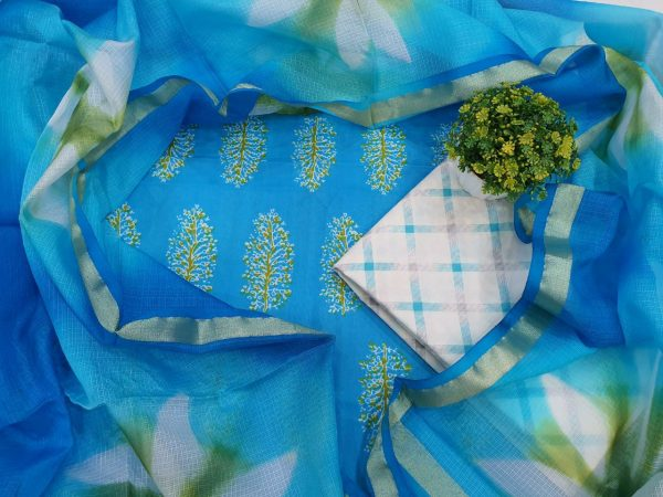 Traditional White and Azure blue Cotton suit kota Silk dupatta