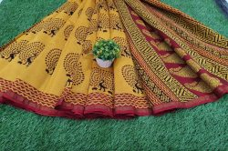 Traditional Yellow Chanderi silk saree for ladies