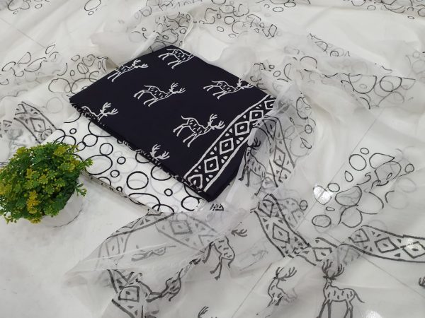 black and White Pure cotton suit set with chiffon dupatta