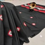 black Exclusive cotton saree with blouse