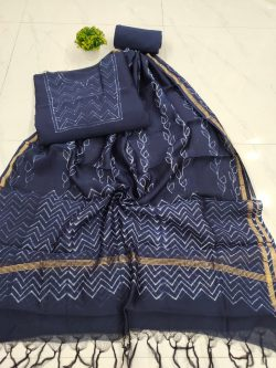 beautiful Indigo blue  chanderi salwar kameez suit