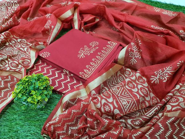 Cotton suit in red blush with kota Silk dupatta
