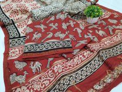 bagru print Carmine and beige chanderi salwar kameez suit