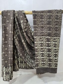 Purple Taupe Exclusive cotton mulmul saree