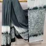 Daily wear Slate gray and White Cotton saree with blouse
