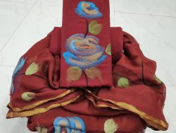 Maroon zari border floral print cotton chudidhar set