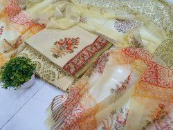 Cream cotton chiffon chudhidar set