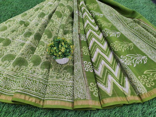 unstitched green chanderi silk saree