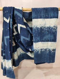 Indigo Blue Cotton Mulmul Saree (1)