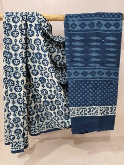 Indigo Blue Cotton Mulmul Saree (2)