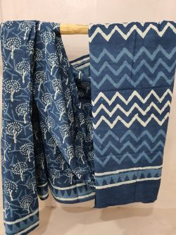 Indigo Blue Cotton Mulmul Saree (4)