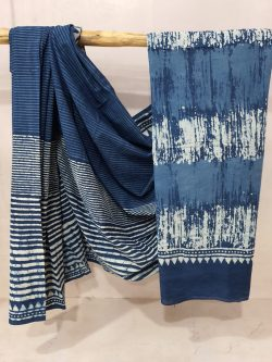 Exclusive Persian blue Cottton mulmul saree With blouse