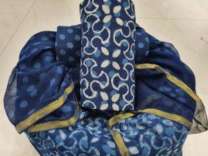 Exclusive Persian blue zari border cotton suit pure chiffon dupatta