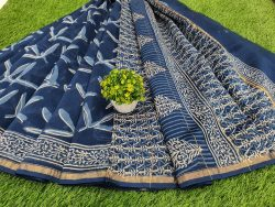 Indigo Print Chanderi Saree