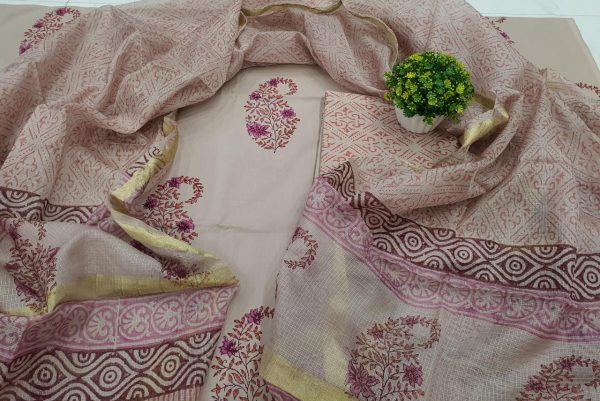 Tan mugal print Cotton suit kota Silk dupatta
