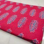 Natural cerise pink cotton dress materiel for ladies