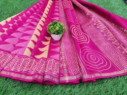 Office wear Magenta rose Chanderi saree with blouse