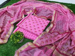 Exclusive pink Cotton suit kota Silk dupatta