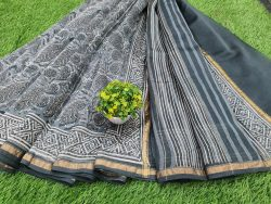 Office wear Slate gray Chanderi saree with blouse