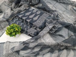 slate gray Cotton suit With kota doria dupatta