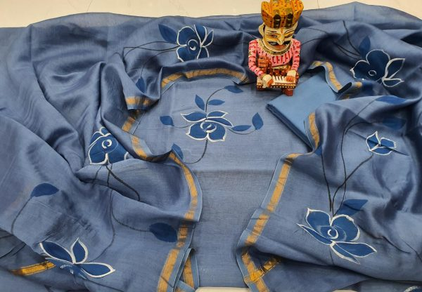 Floral print blue hand brush painted chanderi salwar kameez suit
