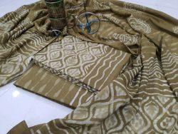 jaipuri Olive mulmul dupatta suit with Salwar Kameez set