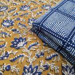 Rapid print Brown and blue cotton dress materiel set