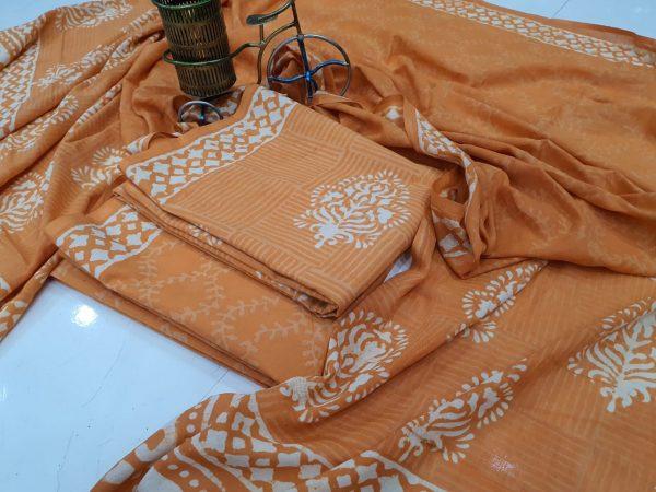 Copper Cotton salwar kameez set with mulmul dupatta