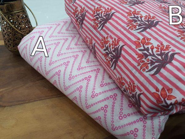 Jaipuri pink and White cotton Running materiel set