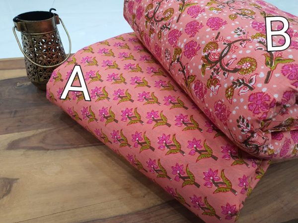 Unstitched Pink floral print running material set
