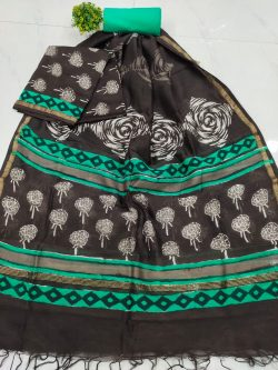 Office wear black and cyan Superior quality chanderi suit set