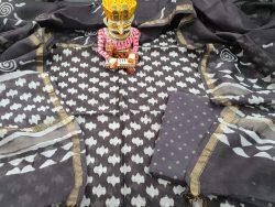 Black Chanderi Suit Bagur Print