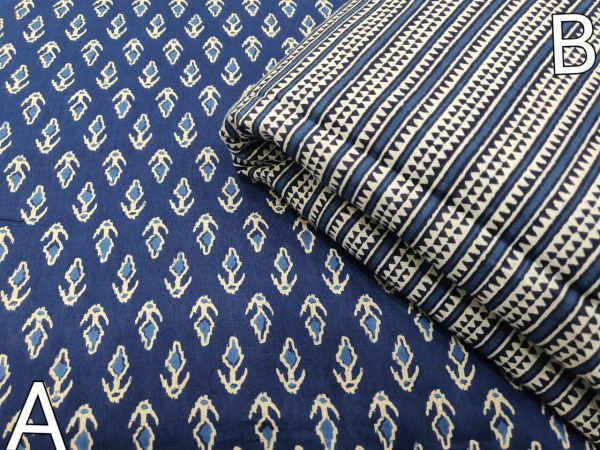 Unstitched Blue and white cotton Running materiel set