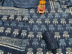 Superior quality blue cotton suit indigo dabu print for women