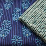 Traditional Blue And teal White cotton Running materiel set