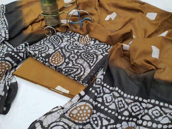 Brown Black Cotton Suit