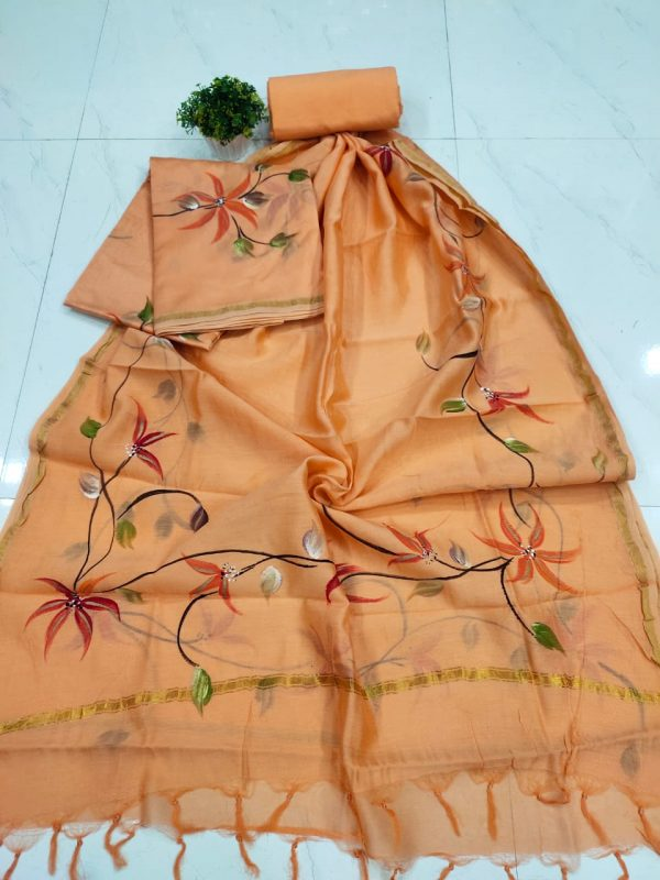 Superior quality Coral hand painting chanderi suit set