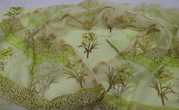 lime Cotton suit kota Silk dupatta for ladies